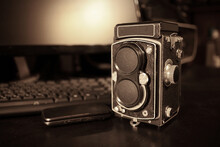 The Old Medium-format TLR Camera On Table.
