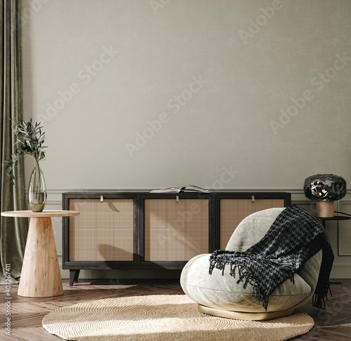 Fotografía Home interior background, cozy room with natural wooden furniture, Scandi-Boho s