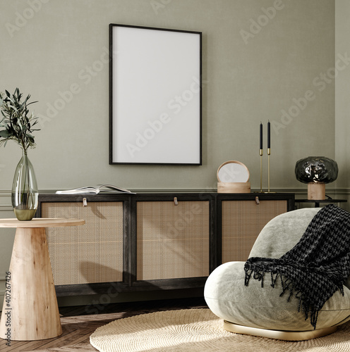 Mock up frame in home interior background, cozy room with natural wooden furniture, Scandi-Boho style, 3d render