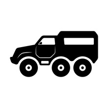 Swamp Buggy Icon. All-terrain Vehicle. Car With Low Pressure Tires. Black Silhouette. Side View. Vector Flat Graphic Illustration. The Isolated Object On A White Background. Isolate.