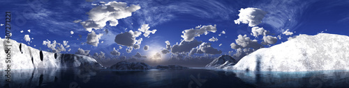 Foto Sunset in the arctic ocean among the ice, the north sea at sunset, snowy shores,