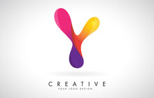 Colorful Rounded Letter Y Creative Logo Design. Friendly Corporate Entertainment Media Technology Digital Business Template.