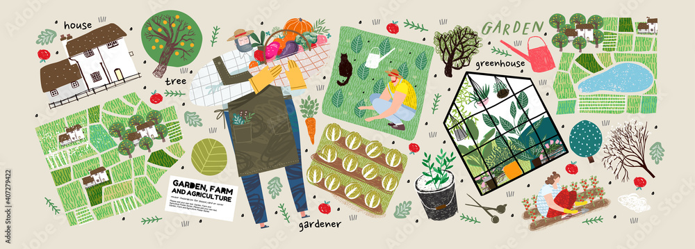 Fototapeta Garden, farm and agriculture. Vector illustration of gardener, garden beds, fields, maps, houses, nature, greenhouse and harvest. Drawings and objects for poster, background or postcard
