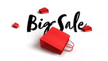 Big Sale 3D Render With Red Paper Bags Lying On The White Ground With Huge Black Typography, Modern Sale Illustration For Business