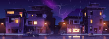 Ghetto Street At Night Rain With Lightnings, Slum Ruined Abandoned Old Buildings Flooded With Water Shower. Dilapidated Dwellings Stand On Roadside With Scatter Litter, Cartoon Vector Illustration