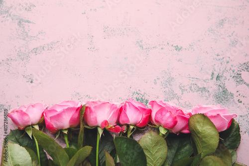 Fototapeta Beautiful pink roses on color background obraz na płótnie