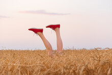 Feet In Red Sneakers Sticking Out Of A Wheat Field. Legs On Field And Sky Background.