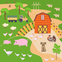 Vector Illustration With A Spring Landscape, A Farm, A Barn, Poultry And Animals On The Background Of Trees, A Tractor And Wind Turbines. The Concept Of Gardening And Work In Nature.
