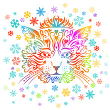 The Cat's Face Is Multicolored. The Snowflakes Are Rainbow. Vector Illustration