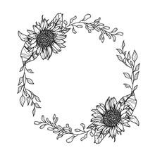 Sunflower Wreath. Hand Drawn Illustration. Invitation Graphic.