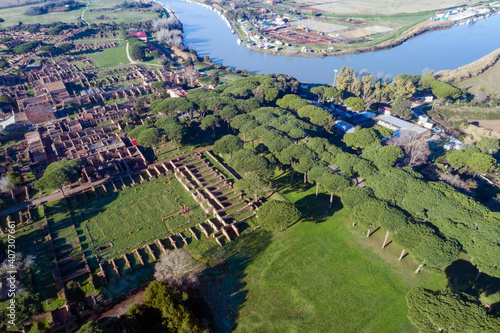 Aerial view of the Archaeological Area of Ostia Antica, founded in 620 .C Rome near the Tiber River, an ancient port © Claudio Quacquarelli