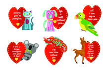 A Set Of 4 Vintage Style Red Heart Valentines With Cartoon Animals