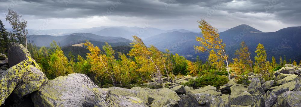 Fototapeta Hurricane wind in autumn mountains
