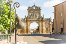 A Calabash On A Walking Stick (symbol Of The Way To Santiago) In Front Of The Arch Of San Benito In Sahagun, Province Of Leon, Castile And Leon, Spain