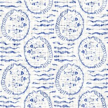 Azure Blue White Fish Linen Texture. Seamless Textile Effect Background. Weathered Doodle Dye Pattern. Coastal Cottage Beach Home Decor. Modern Sea Life Fishes Marine Fashion Repeat Cotton Cloth.