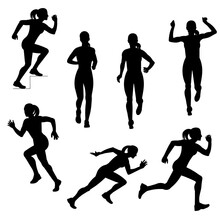 Seven Isolated Vector Silhouettes Of Running Girls In Warm Sports Clothes