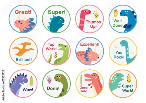Tela Reward stickers collection with cute dinosaurs