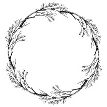 Round Floral Frame With Silhouettes Of Bare Trees Or Branches. Hand Drawn Sketch.