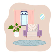 Living Room Interior Design Flat Vector Illustration. The Houseplant Next To A Soft Armchair. Arrangement Of Furniture And Layout Of Premises In The Apartment. Glazed Window With Pink Curtains
