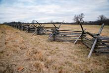 A View Of The American Civil War Battlefield In Gettysburg,