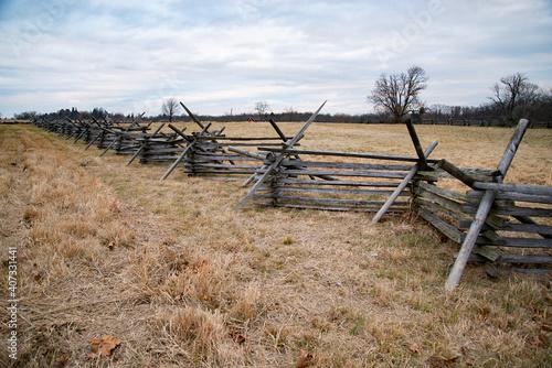Billede på lærred A view of the American Civil War battlefield in Gettysburg,