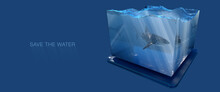 Great White Shark Inside Water Tank With Water And Godrays Inside, Save Water Conceptual Design, 3d Illustration