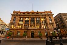 Bank Of Mexico (Spanish: Banco De Mexico) Headquarter At No. 2 On 5 De Mayo Avenue In Historic Center Of Mexico City CDMX, Mexico. This Building Is A UNESCO World Heritage Site.