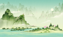 Green Chinese Style Landscape Painting.Ink Painting.Rain Water Illustration