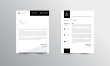 Modern Business Letterhead Design Template, Black Abtract Letterhead Design, Letterhead Template,  - Vector