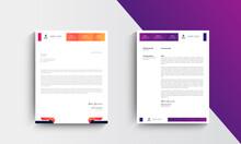 Orange And Purple Modern Business Letterhead Design Template, Abtract Letterhead Design, Letterhead Template,  - Vector