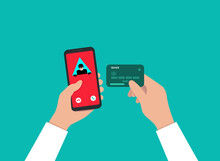 A Call From A Fraudster To A Smartphone. An Insecure Connection. A Hacker Who Steals Bank Card Data. The Hacking Of The Phone Database. Phone Fraud, Hacker Attack, Scam And Cybercrime.