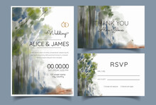Watercolor Wedding Invitation Card, Road At The Edge Of A Thick Forest