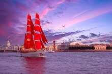 Scarlet Sails In Saint Petersburg. Summer In Russia. Ship With Scarlet Sails In Neva. Panorama Of Sights Of Saint Petersburg. Festival Scarlet Sails In Russia. Saint Petersburg On A Summer Day
