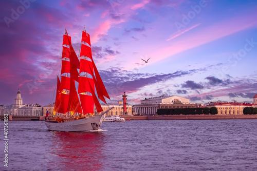 Stampa su Tela Scarlet sails in Saint Petersburg