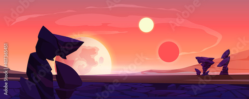 Alien planet landscape, dusk or dawn desert surface with mountains, rocks, satellite and two suns shining on orange sky. Space extraterrestrial computer game background, cartoon vector illustration