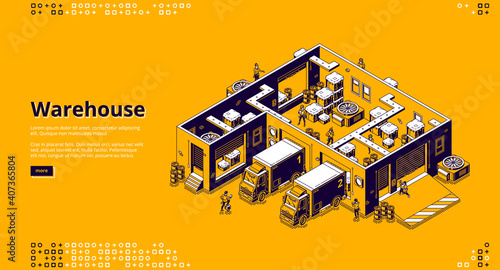 Obraz Warehouse banner. Logistic infrastructure for storage, distribution and delivery cargo from factory, store. Vector landing page with isometric storehouse interior, trucks and working people - fototapety do salonu