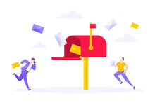 Subscribe Now To Our Newsletter Vector Illustration With Tiny People Running Toward Mailbox. Email News Subscription Or Mail Marketing Business Flat Style Design Concept.