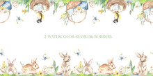 Easter Bunnies, Easter Eggs, Basket, Nest, Titmouse, Butterfly, Grass, Flowers. Watercolor Seamless Borders