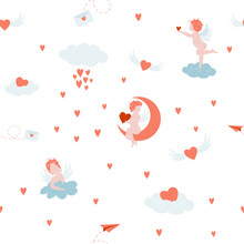 Valentine's Day Seamless Pattern. Cupid, Hearts, Clouds Digital Paper, Cute Background
