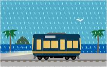 豪雨の中、ライトを点けて海沿いを走る電車のベクターイラスト