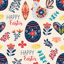 Easter Seamless Pattern With Egg, Floral Elements, Chicken And Happy Easter Text. Hand Drawn Scandinavian Style Vector Illustration Perfect For Textile, Fabric Or Wrapping Paper.