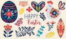 Easter Clipart Collection With Egg, Floral Elements, Chicken, And Happy Easter Lettering. Hand Drawn Scandinavian Style Vector Illustration.
