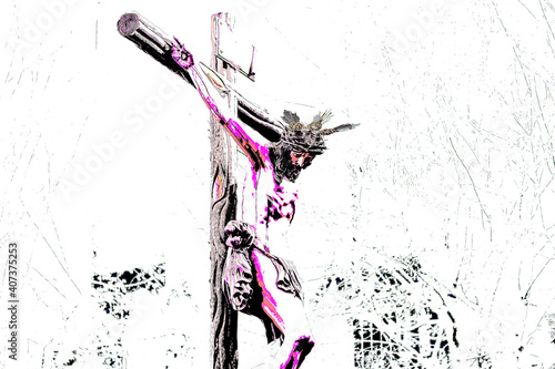 Photo Jesus Christ on the Cross suffering and bleeding