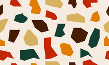 Terrazzo Flooring Vector Seamless Patterns In Cool Colors. Texture Of A Classic Italian Type Of Floor In Venetian Style, Composed Of Natural Stone, Granite, Quartz, Marble, Glass And Concrete
