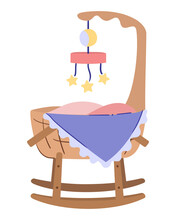 Baby Cradle On Runners, Rocking Bassinet With Mobile Toy And Blanket Corner Stick Up From Newborn Bed. Isolated Vector Illustration On White Background