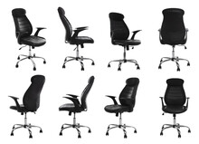 Set With Black Office Chairs With Leather Seats On White Background