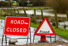 Road Closed And Flood Signage In The Rural Village Of Breighton Due To Flooding Caused By Storm Christoph And Heavy Rains In North Yorkshire, UK. Winter 2021.  Horizontal.  Space For Copy.