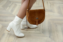 Woman In Stylish Leather Shoes With Bag Indoors, Closeup