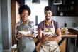 Leinwandbild Motiv Happy couple preparing healthy food in kitchen