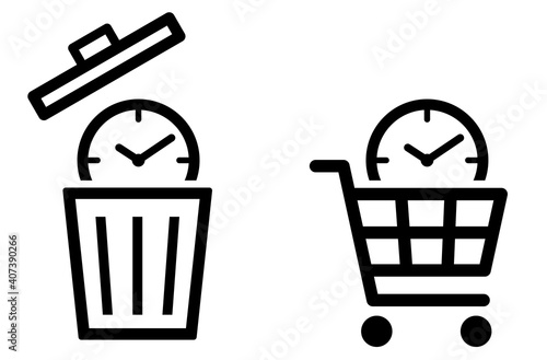 Fototapeta 時計にゴミ箱と買い物かご 時間アイコン